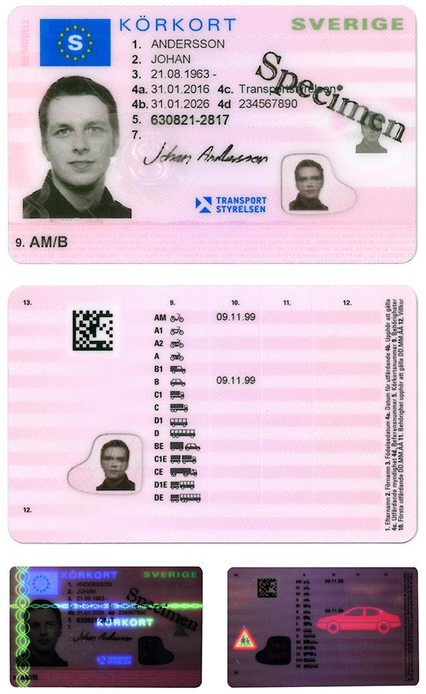 Exempel på körkort från 2016