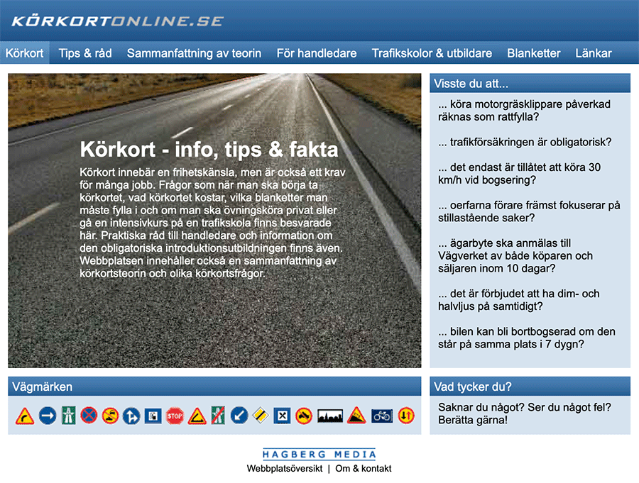 Körkortonline.se in January 2007.